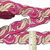 4,0 cm de color rosa de corte de trabajo amplia bordadas indio artesanía ajuste de la cinta de costura por el patio