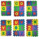 Trimming Shop 36 Pezzi Tappeto Gioco per Bambini Bambini Alfabeti e Numeri Made Of Schiuma Morbida Puzzle Gioco