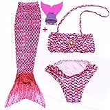 FITTOO Mädchen Meerjungfrau Badeanzug mit Schwimmflossen Cosplay Kostüm Badebekleidung 3pcs Bikini Sets Rot S