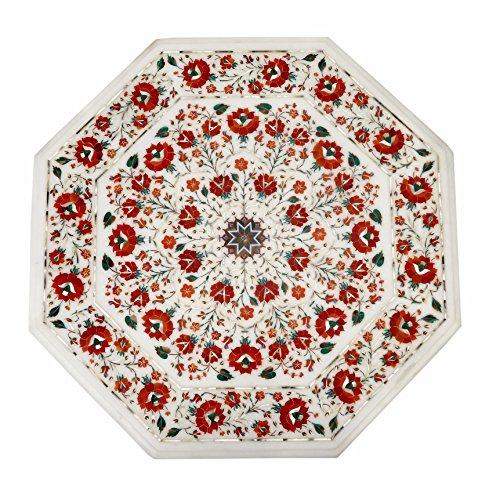 Inlay-top-couchtisch (Breiten 61cm weiß Marmor Tisch Top Semi Precious Stone Inlay Octangle Form Couchtisch)