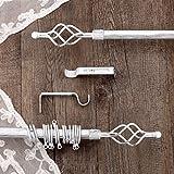 AT17 Gardinenstange Vorhangstange Gardinenstange Variable Länge Landhaus Shabby Chic - Unendlichkeit/Spirale - 160-300 - Durchmesser 2 cm - Weiß/Silber - Metall