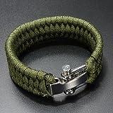 Dcolor 7 Strand Survival-Militaer Weave Armband-Schnur Schnalle - gruen