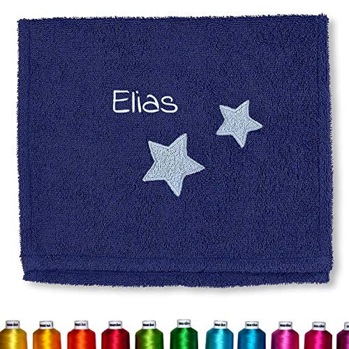 Sterntaler Kinder/Baby Handtuch bestickt mit Namen (Jungen), Kinderhandtuch personalisiert (Stanley Blau Sterne, Jungs)