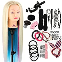 "Neverland Beauty 26"" 100% Synthetic Fiber Hair Hairdressing Training Head Manikin Doll Multicolored with Clamp Practice Mannequin + Hair Braid Accessoires Set"