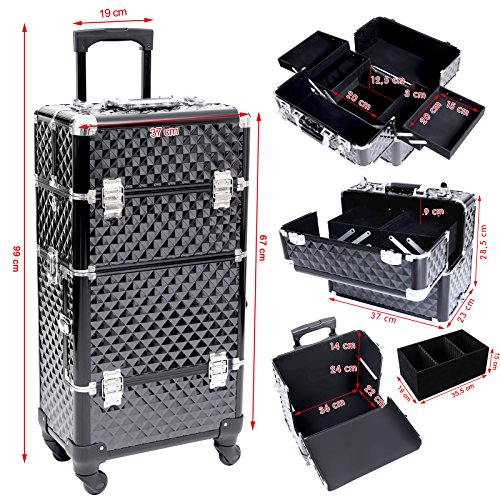 large nail art make up beauty case cart trolley suitcase box wheels handle black ebay. Black Bedroom Furniture Sets. Home Design Ideas