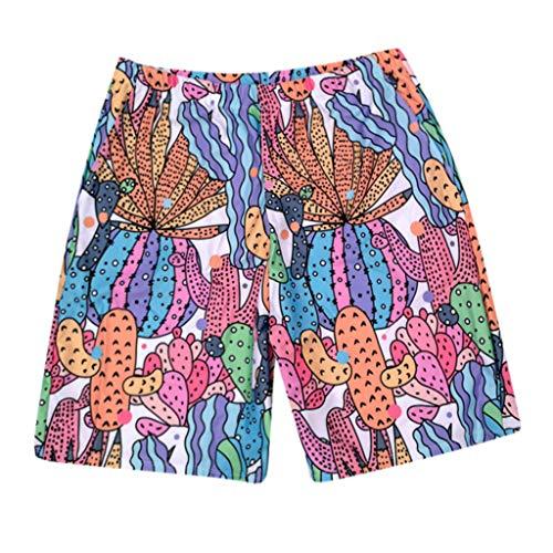 xmansky Kinder + Herren + Damen Badebekleidung Set Cactus Familie ausgestattet Männer Druck Badehose Jungen Strandhosen Beachwear -
