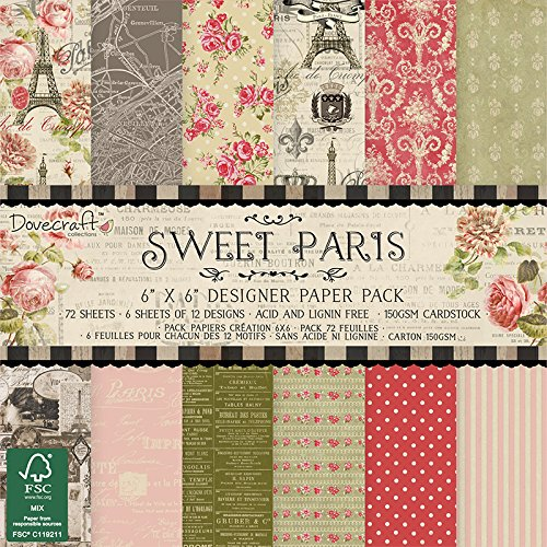 Dovecraft Sweet Paris Kollektion - Papierpackung 6 Zoll x6 Zoll (12 Designs, FSC)