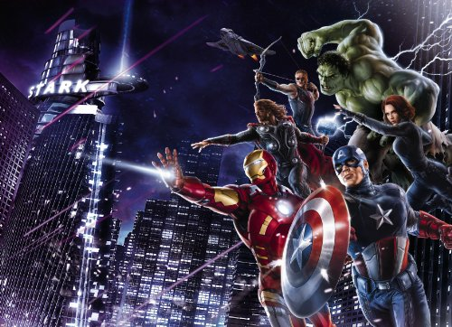 Fototapete CITYNIGHT 254x184 Marvel Comic-Helden, Hulk, Captain America, Black Widow, Ironman, Thor, Hawkeye, Avengers