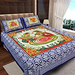 Ahmedabad Cotton Basics Jaipuri Collection 136 TC Cotton Double Bedsheet with 2 Pillow Covers - , Blue, Red and Green