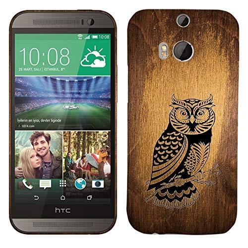 Glisten-Design Hard Kunststoff Hülle für HTC One M8-Vintage Holz Eule Owl Muster Bedruckt Slim Profil Niedlichen Snap auf der Rückseite Cover (Htc M8 Harten Fall)