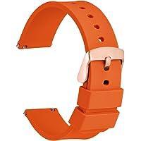 WOCCI Cinturino Silicone con Fibbia Oro Rosa, Sgancio Rapido, Cinturini per Orologio 14 mm 18 mm 20 mm 22 mm