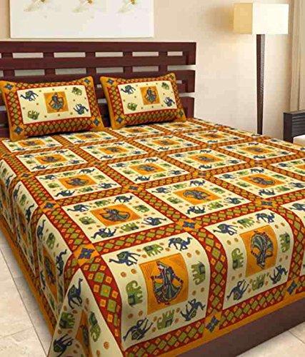 1db3d6690b0 70% OFF on Rajdevi Jaipur Prints Sanganeri Jaipuri King Size Cotton  Bedsheet Rajasthani 100% Cotton Bed Sheet with 2 Pillow Covers Multicolor  on Amazon ...