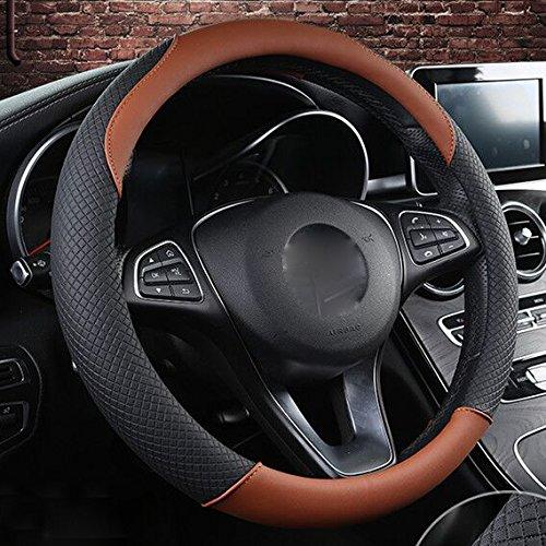 Preisvergleich Produktbild XuanMax Splice Lenkradbezug Mikrofaser Leder Atmungsaktiv Lenkradhülle 38cm Universal Lenkradschoner Auto Lenkrad Abdeckung Lenkradabdeckung Rutschfest Lenkradschutz Car Steering Wheel Cover - Braun