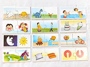 Futurez Key Opposites Learning Flash Cards 28 Self Correcting 2 Piece Puzzles , New Concept for Children to Learn and Play with Picture Cards