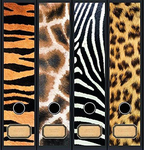 4 durchgehende Ordnerrücken Afrika Leopard Zebra File Sticker Ordner Aufkleber Etiketten Deko 8057 (Zebra Büromaterial)