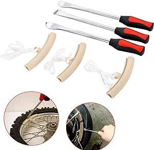 Exleco Reifenheber Reifen 3er Set Montiereisen Tire Spoons Lever Iron Reifenheber Montierhebel Mit 3pcs Rad Felge Protektoren Für Motorrad Fahrrad Reifen Auto