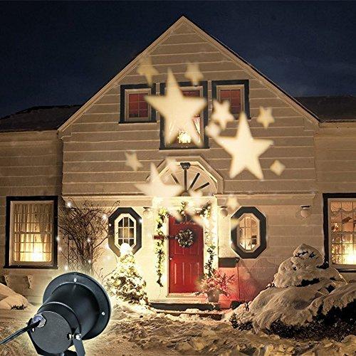 GAXmi LED Beleuchtung Weihnachten Landschaft Scheinwerfer Fee Bewegung Sterne Muster Garten Mauer Hochzeit Draussen Wasserdicht projektiert Spotbeleuchtung (Weich Weiß) (Flut-licht-halter)