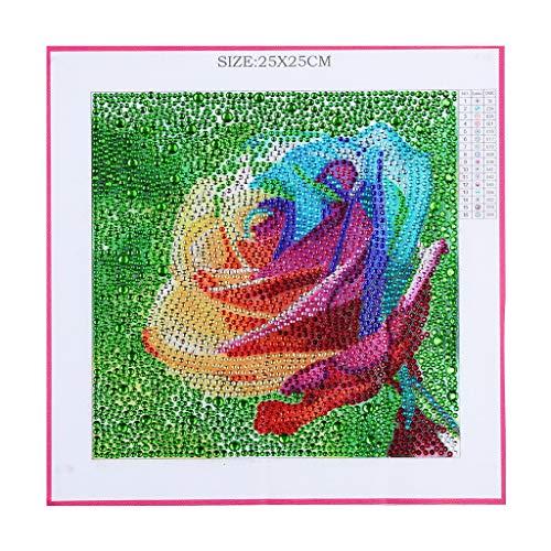 SoundJA Diamantmaler-Set, DIY 5D Kreuzstich Spezial geformte Bohrer Kristall Strass eingeklebt Stickerei Gemälde Wandaufkleber für Erwachsene Kinder 25 x 25 cm, Rose mehrfarbig -