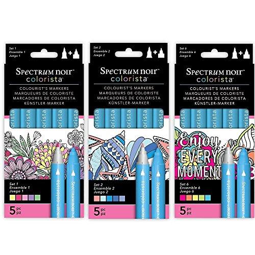Preisvergleich Produktbild Crafter's Companion Set 1 + 3 + 6 Spektrum Noir Colorista 15 Marker Bundle