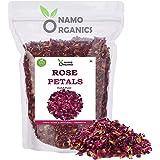 Namo Organics - Sun Dried Rose Petals - Dry Rosa Gallica - 100% Edible for Food - 100 Gm