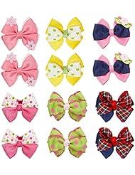 Bundle Monster - Lot de 6 paires d'élastiques à cheveux pour bébé - motif noeud/fleur/boule - fille