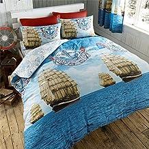 Just Contempo–Nautical–Juego de funda nórdica doble, color azul, algodón poliéster, azul, doble