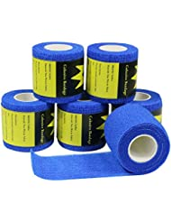 YuMai Bandage Cohésif 5cm, Bandage Gaze adhésif Flexible Sportif Médical Vétérinaire pour Animaux Chien Blessures Athlètes, 6 rouleaux, Bleu