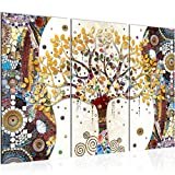 Photo Gustav Klimt - Arbre de vie Décoration Murale 120 x 80 cm Toison - Toile Taille XXL Salon Appartement Décoration Photos d'art Marron 3 Parties - 100% MADE IN GERMANY - prêt à accrocher 004631a...