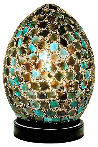 Febland Peacock Greem Tile mini Mosaic Egg Lamp, Glass, Green