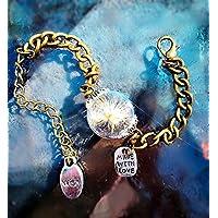 Pissenlit fait avec amour Bracelet en or vintage - pissenlit réelle semences & fleurs séchées Wish Jewelry Bangle