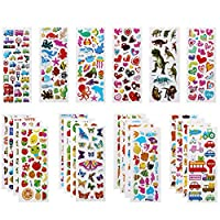 Vicloon 3D Stickers for Kids, 22 Variety Sheets Puffy Stickers, 500+ Children Stickers for Party Rewarding Gifts Scrapbooking Including Animals Fish Dinosaurs Numbers Fruits Trucks Airplane and More