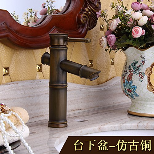 Preisvergleich Produktbild LppkzqAntique Bambus vintage einzelne Bohrung bad Armatur Kupfer Europäischen heiße und kalte Waschbecken Waschbecken Bambus Wasserhahn, Abschnitt