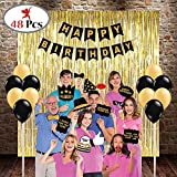 #1: Party Propz™ happy birthday combo includes 3 golden foil curtains, 1 happy birthday banner, 1 set of birthday photo booth, 24 pics golden & black latex balloon