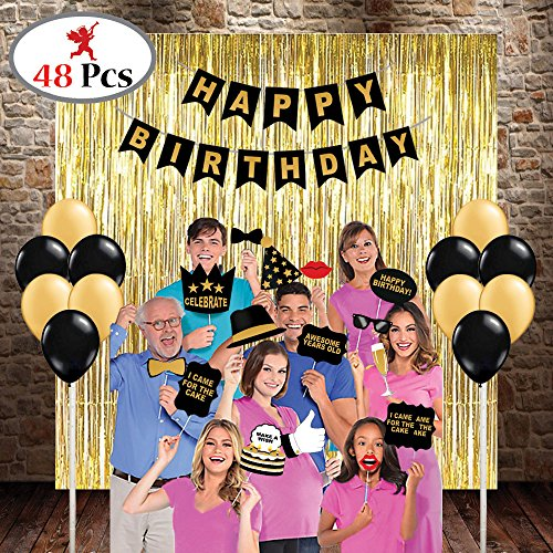 PARTY PROPZ HAPPY BIRTHDAY COMBO INCLUDES 3 GOLDEN FOIL CURTAINS, 1 HAPPY BIRTHDAY BANNER, 1 SET OF BIRTHDAY PHOTOBOOTH, 24 PCS GOLDEN & BLACK LATEX BALLOON/ HAPPY BIRTHDAY PARTY SUPPLIES/ HAPPY BIRTHDAY PARTY DECORATION