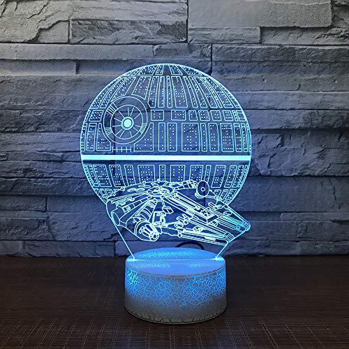 3d led led comodino sonno 7 cambia colore lampada da tavolo visivo nave da guerra modellismo spazio nave luce di notte bambini regalo decorazione camera da letto