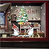Global Brands Online Ventana de la Tienda de Navidad mostrando Pegatinas de Pared de áRbol de Navidad de Color Blanco de Nieve