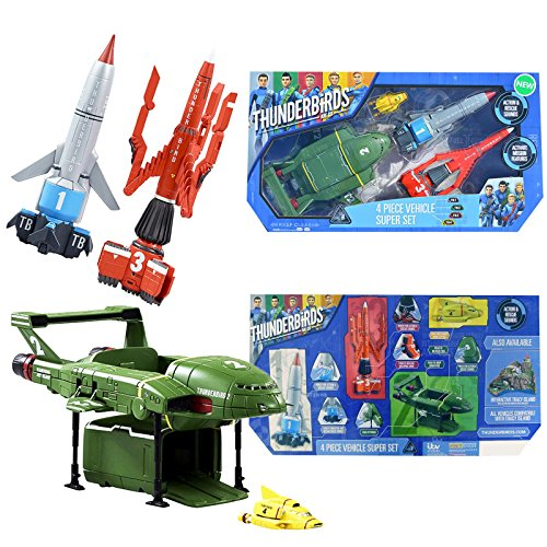 New Thunderbirds Are Go Official 4 Piece Vehicle Super Set Action Figures With Sound