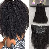 Moresoo 100% Unprocessed Remy Human Hair Farbe Naturschwarz 1B Echthaar Clip In Extensions Afro Kinky Curly Clip in Hair Extensions 16Zoll