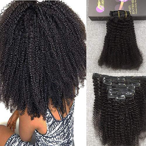 Moresoo Afro Curly Clip in Recto Rizado Extensiones Pelo Humano de 18