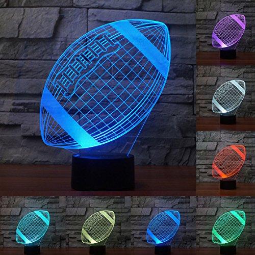 3D rugby football Illusions Lampen, Tolle 7 Farbwechsel Acryl berühren Tabelle Schreibtisch-Nachtlicht mit USB-Kabel für Kinder Schlafzimmer Geburtstagsgeschenke Geschenk