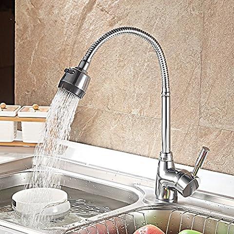 BFDGN semplice resistente e robusto rame spazzolato Cucina Completa Di Rubinetto In Ottone A Caldo E A Freddo Per Dissipatore Di Ruotare L