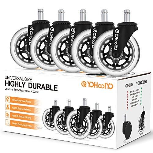 YOHOOLYO 5 Set Bürostuhlrollen Ruhiges Drehstuhlrollen Caster Räder 10 x 22mm Geeignet für die Meisten Drehstuhlrahmen Schwarz