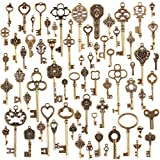 JuanYa, 70ciondoli misti in bronzo antico, in stile vintage, a forma di chiave e realizzati a mano, per collane e gioielli fai da te