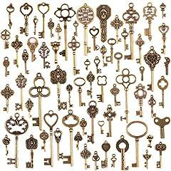 Idea Regalo - JuanYa, 70ciondoli misti in bronzo antico, in stile vintage, a forma di chiave e realizzati a mano, per collane e gioielli fai da te