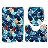 TianranRT 3 Stück Anti-Rutsch Fisch Skala Bad Matte Badezimmer Küche Teppich Fußmatten Dekor (J)