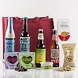 Natures Hampers Cesta de Regalo Cerveza Artesanal y Snacks – Caja de Regalo de Cerveza Artesanal – Cerveza y Snacks - Set Regalo de Cerveza artesanal - Regalo para amantes de la cerveza artesanal - Cumpleaños para él - Cumpleaños para ella – Vegetariano - Regalos de Navidad – Regalo de Retiro