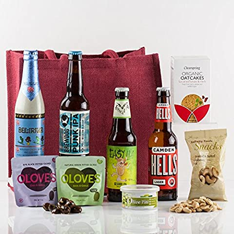 Natures Hampers Craft Beer & Bites Gift Bag - Luxury Craft Beers Gift Box Set - Beer & Food - Birthday for Him - Birthday for Her - Vegetarian - Christmas Gifts - Xmas