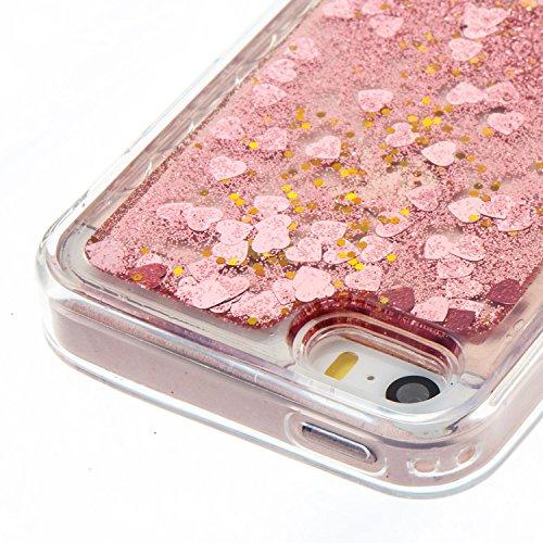 iPhone SE Hülle, iPhone 5S Silikon Schutzhülle, Anfire Bling 3D Transparent Handy Case Hülle für iPhone SE / 5 / 5S Weich TPU Silikon Schutzhülle Kreativ Dynamisch Treibsand Liquid Fließen Flüssig Mus Rosa Gold