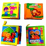 #3: Set of 4 Kids Montessori Theme Cloth Book with Bright Color Pictures Toddler Baby Learning Toys