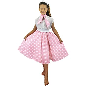 6ed8a1e3f7 DELUXE CHILDS ROCK N ROLL SKIRT FANCY DRESS COSTUME SET 26 INCHES LONG (66  CM) POLKA DOT 50'S SKIRT WITH NECK SCARF COLOURED ROCK AND ROLL SWING  OUTFIT ...